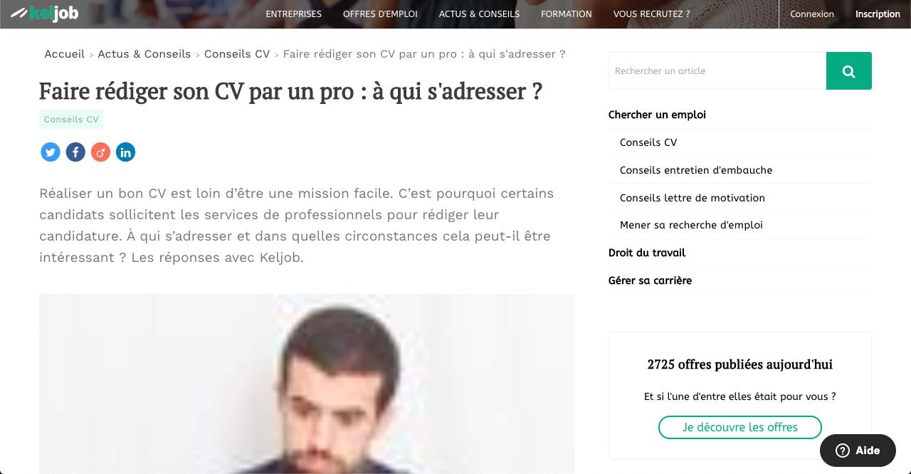 Article de presse KelJob sur le métier d'écrivain public - Gilles Salomon